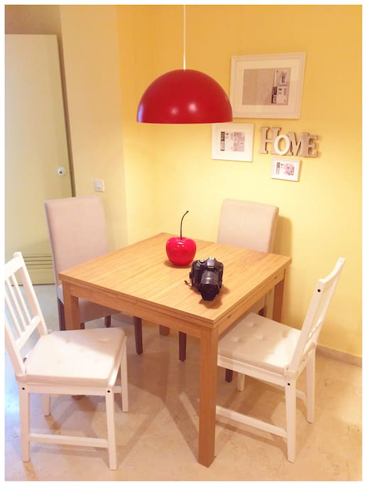 Living - Dining room. The table is extendible to 6 pax