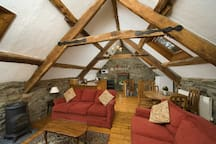 Built in 1774 the original beams of the sitting room and kitchen area.
