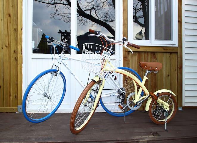 펜션 앞 해안로 자전거