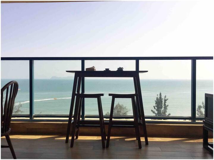 万科双月湾270度正海海景两房,精致东南亚+新中式装修,给您五星享受