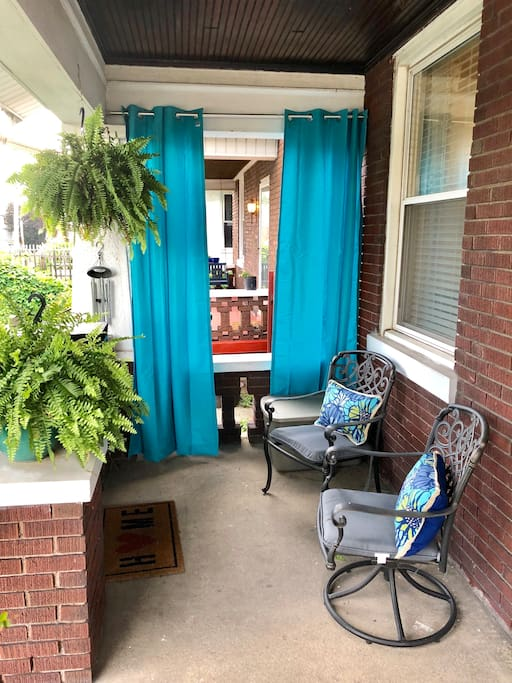 Our front porch is a great place to relax and enjoy a cup of coffee
