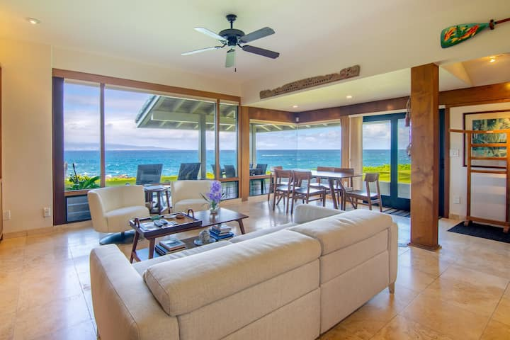Retreat by the Ocean! Stunning Villa Steps from Kapalua Beach | Golf Course + Shuttle Access