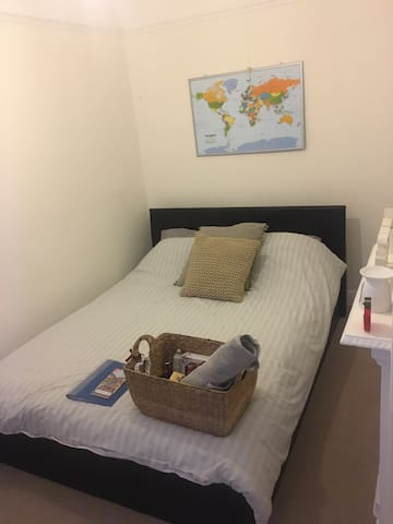 Toiletries provided with fresh towels.  Bedding fresh on.  Extension cable for extra sockets and hangers in the wardrobe for clothes.
