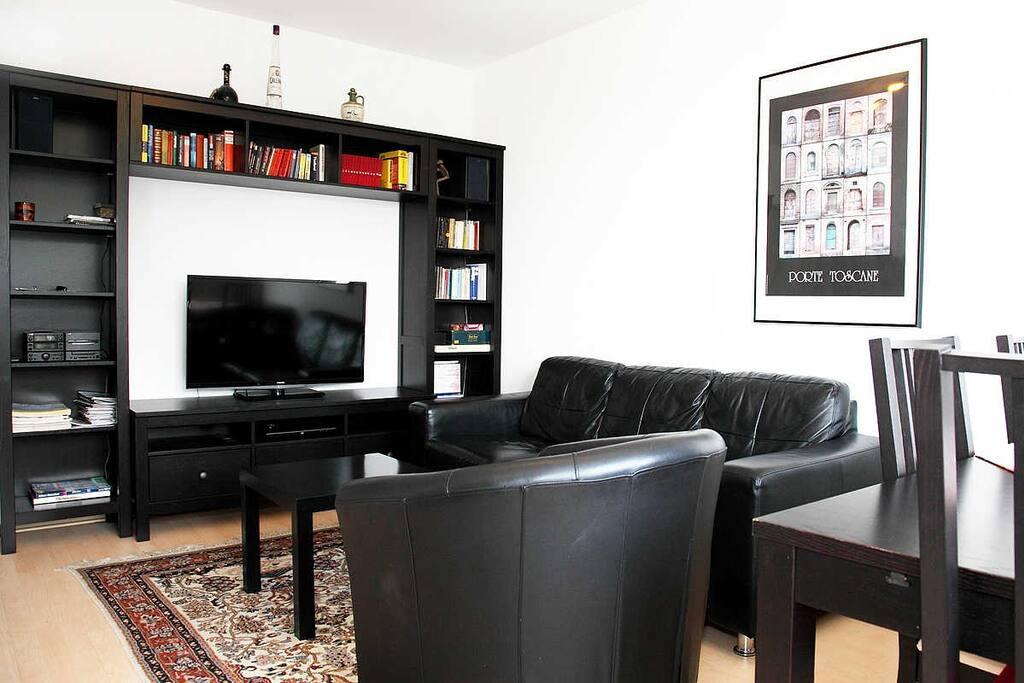 Wohnbereich mit Ledersofa und Ledersessel.