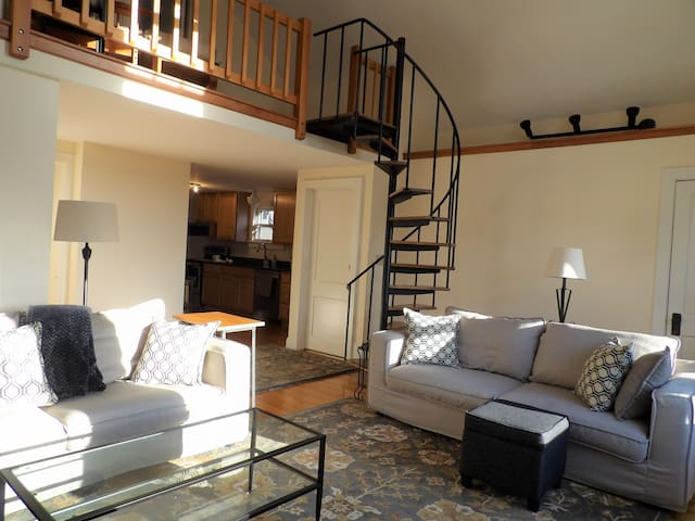 Living area with spiral staircase to loft