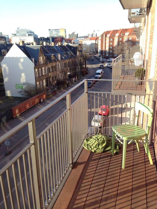 Balcony facing west.  Sun from 1 pm - sunset.