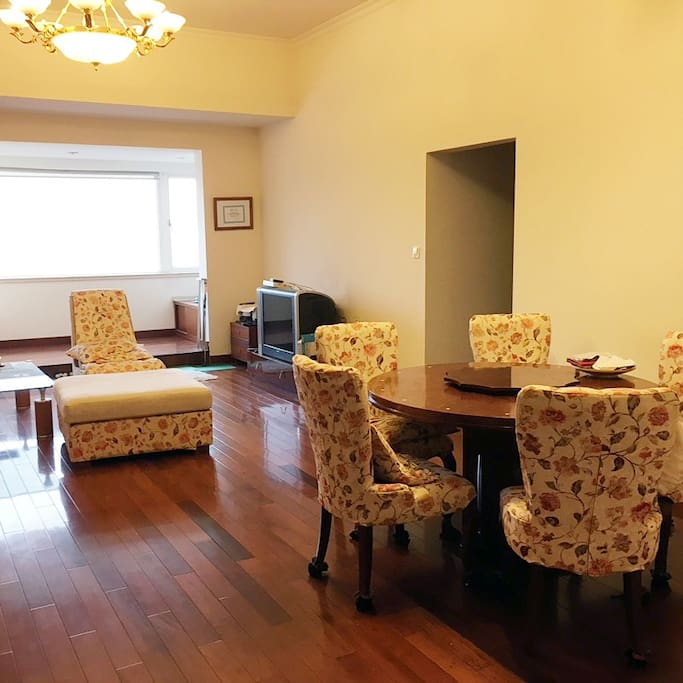 Living room and the dining area.  Hallway leads to the two bedrooms.