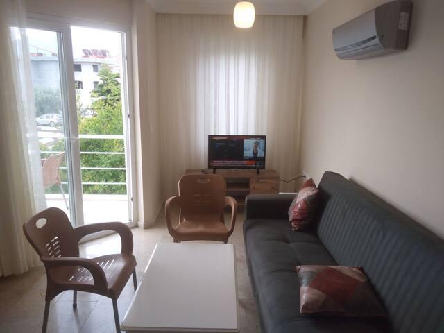Diğer yarısı açık mutfak olan balkonlu, divanlı, televizyonlu salon