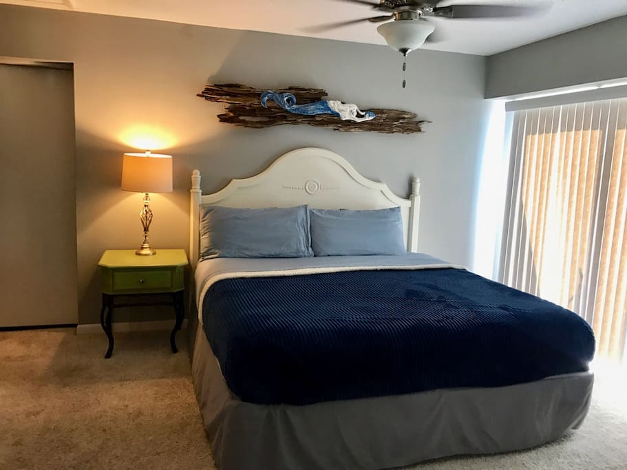 Comfortable king bed w/ a new king mattress - upstairs in the master bedroom.