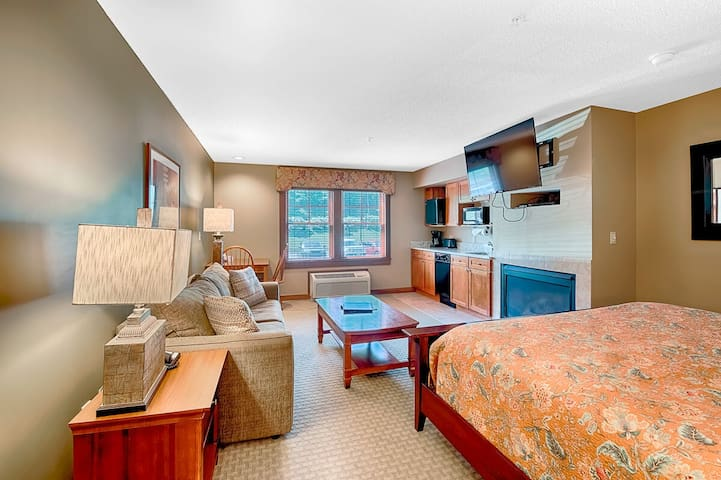 A210- Studio standard view suite w/ kitchenette and cozy fireplace!