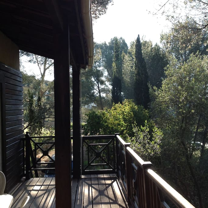 Terrasse bois exotique fraîche et moitié ombragée ,en hauteur ,vue sur pins,pas de vis à vis