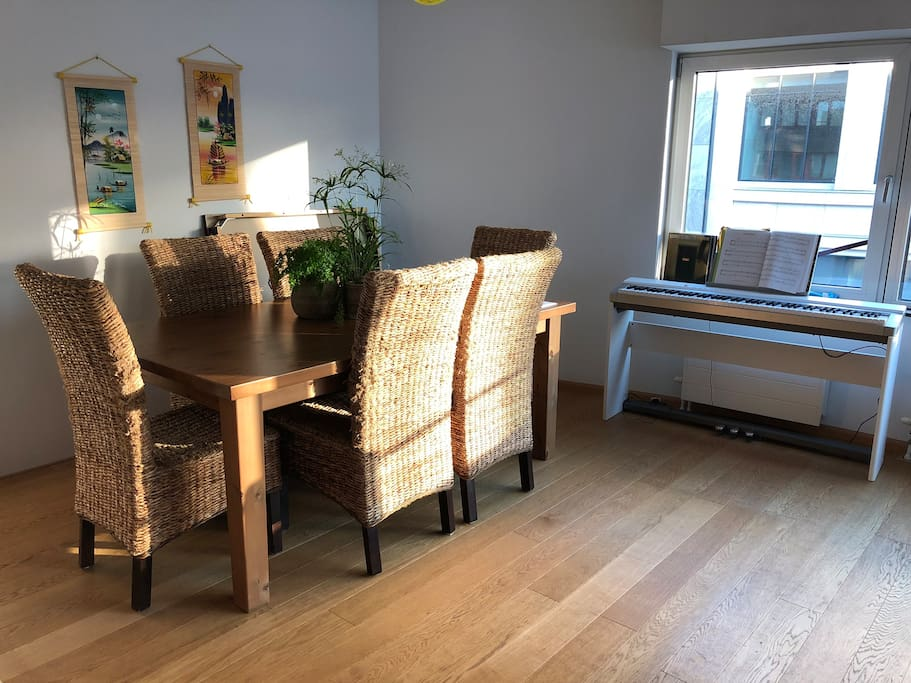 Dining table and piano