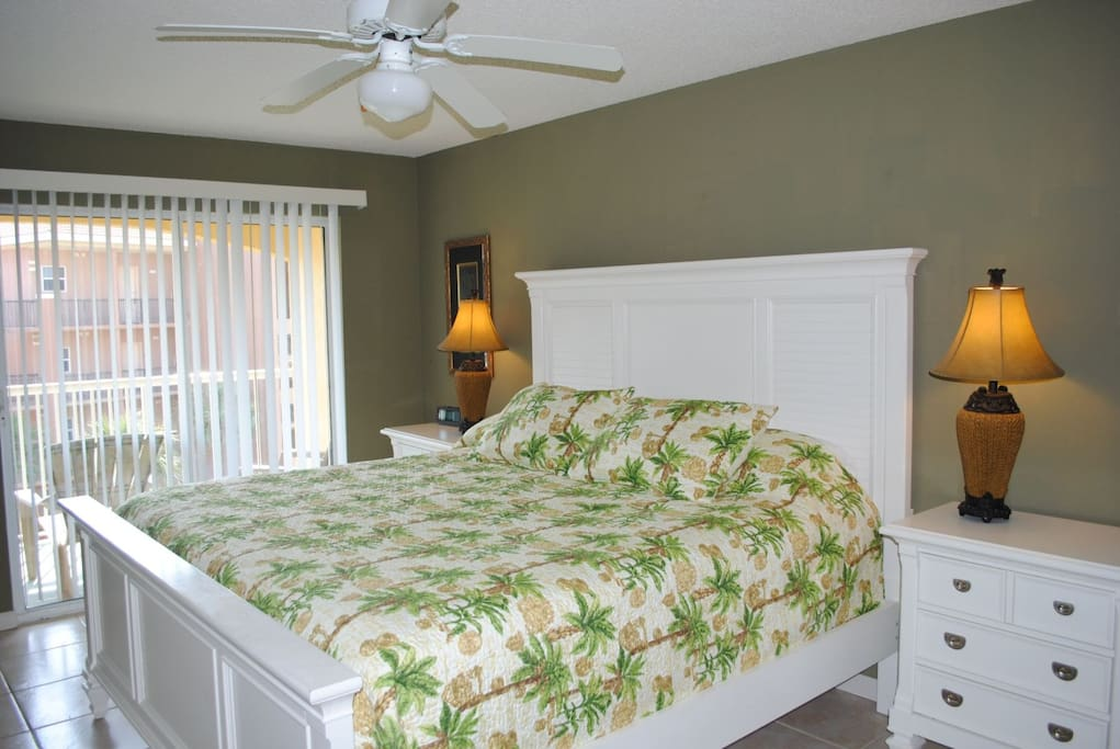 Beautiful Master Bedroom with King Bed and Private Entrance to Balcony