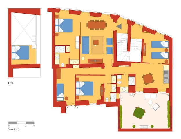 Five bedrooms holiday apartment near Piazza Venezia and Campo de Fiori - Floor plan