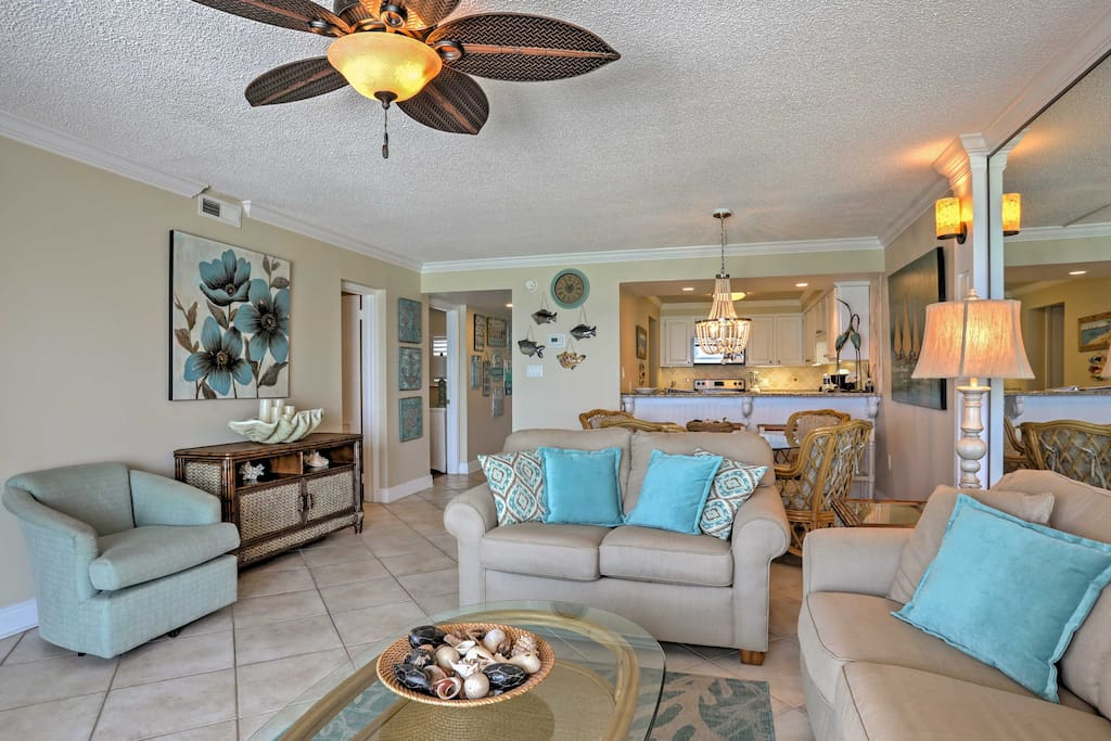 The inside features an open-concept floor plan making it easy to visit with your guests.