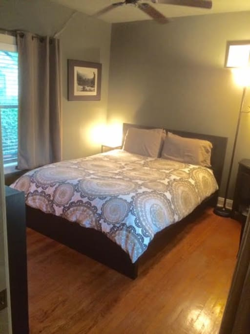 IKEA Queen size bed with Serta mattress.