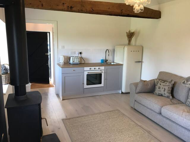 Kitchenette and living room