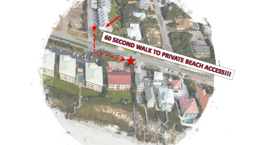 Spacious townhome + private beach.  Right on 30A!