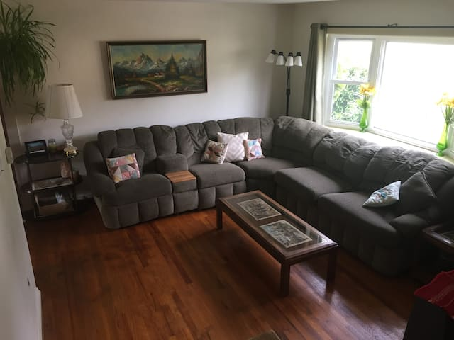Very conformable couch with fold out bed.  Bed can be mad upon request. Blanket pillow will be located in the closet behind front door. (and sheet if you prefer to make it fresh yourself.)