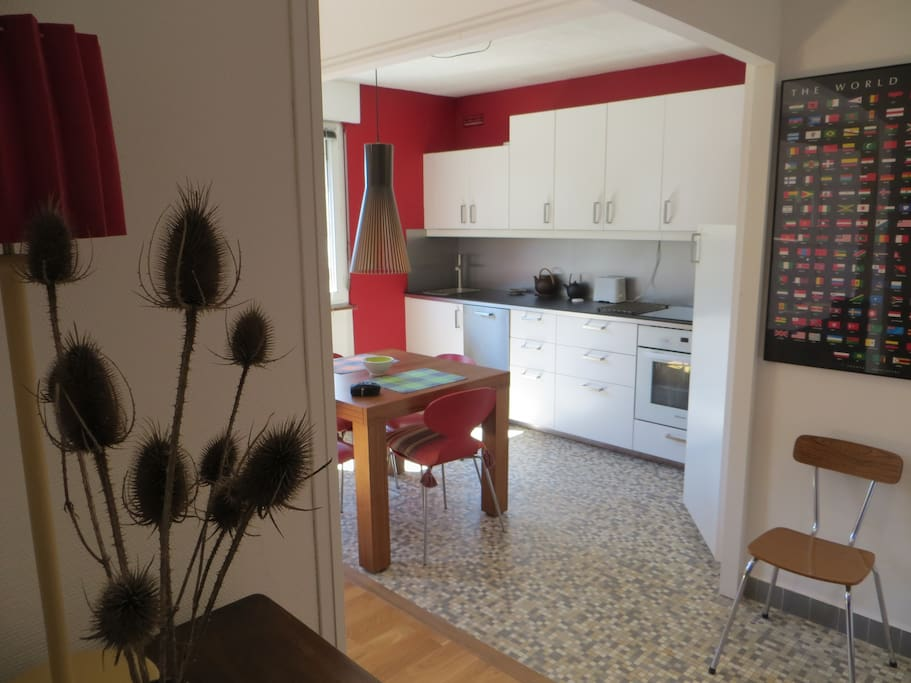 Photo taken from the hallway over the kitchen area