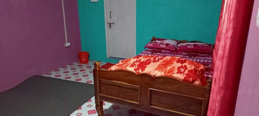 Room 1 has two beds of this size with a private attached washroom