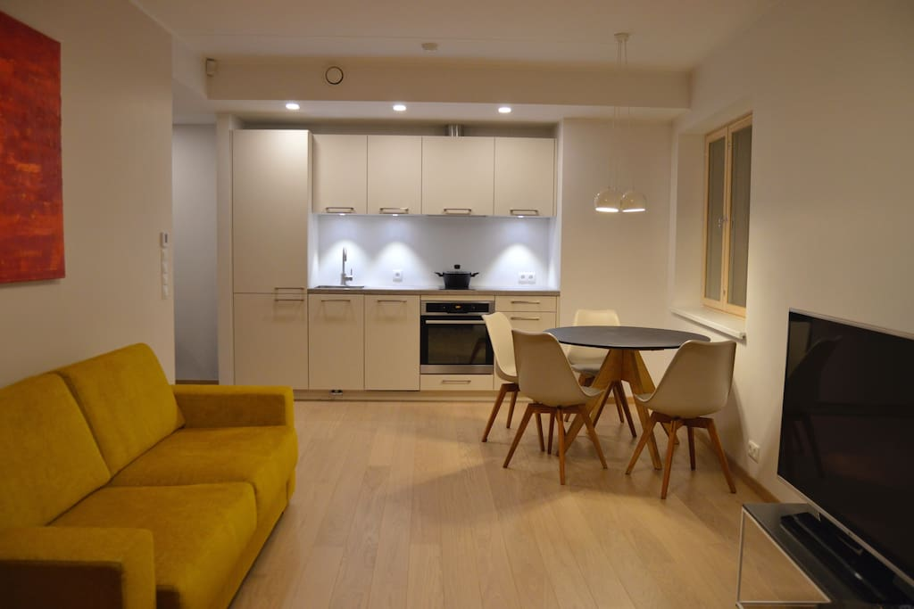 Open space kitchen-living room.