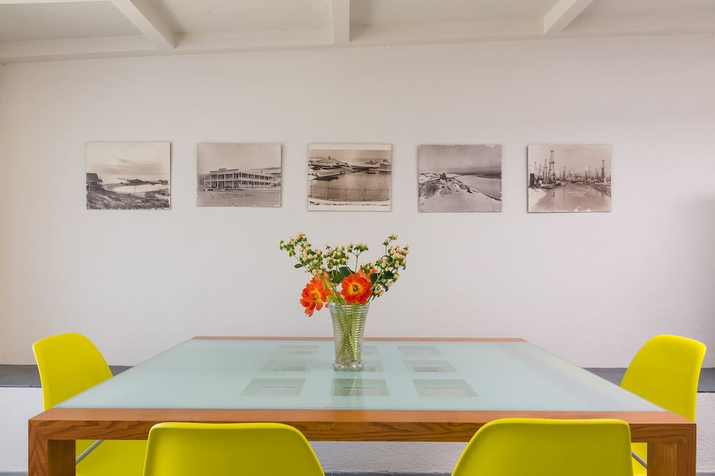 Dining room featuring vintage pictures of Playa del Rey