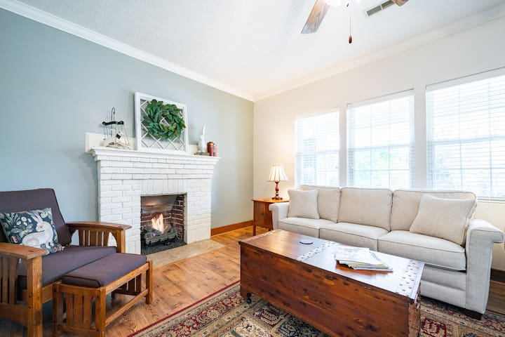 Gas log fireplace in living room.  Queen sleeper sofa as well.