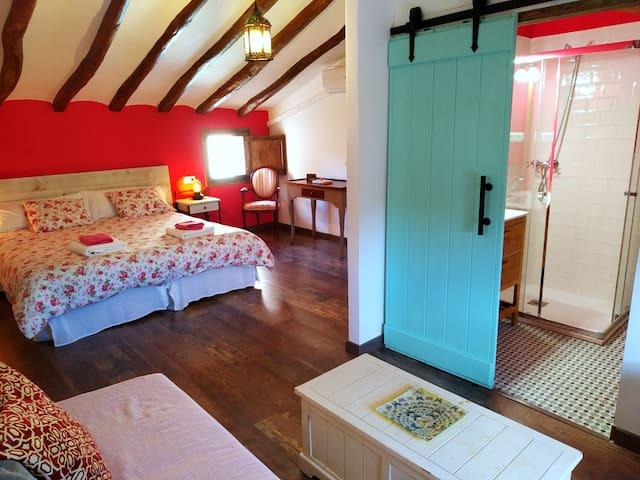 Habitación con sofá-cama y baño privado