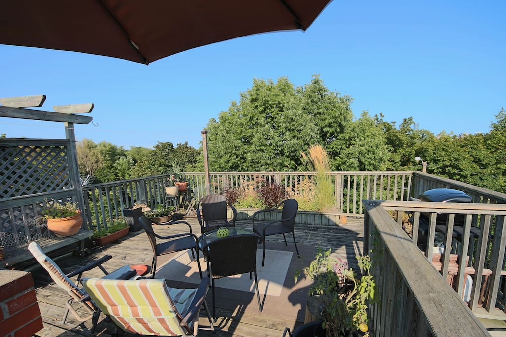 Eat work and relax on the private deck