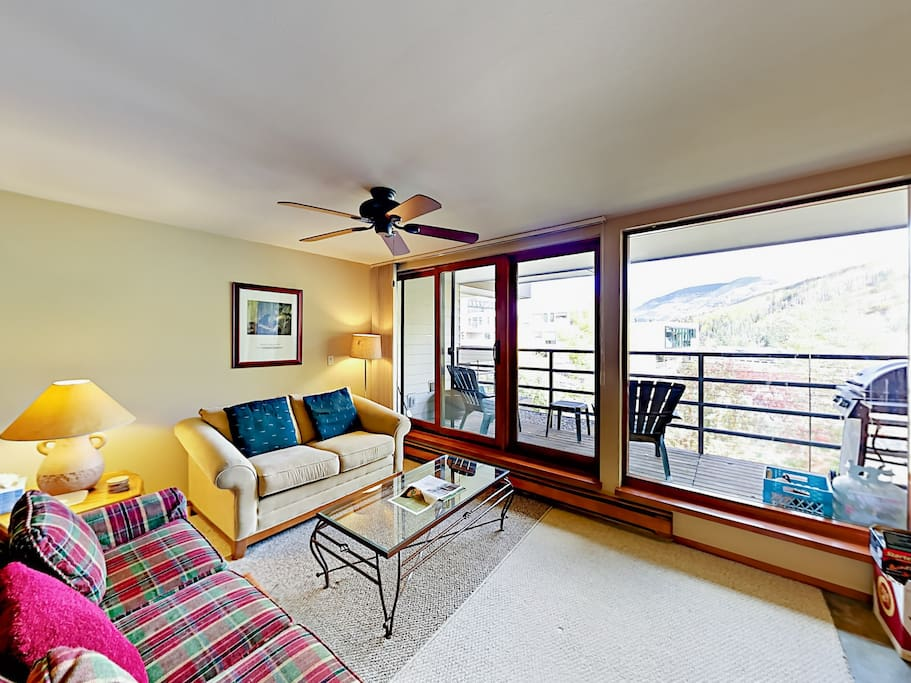 Large windows give you great Vail mountain views in the living room.