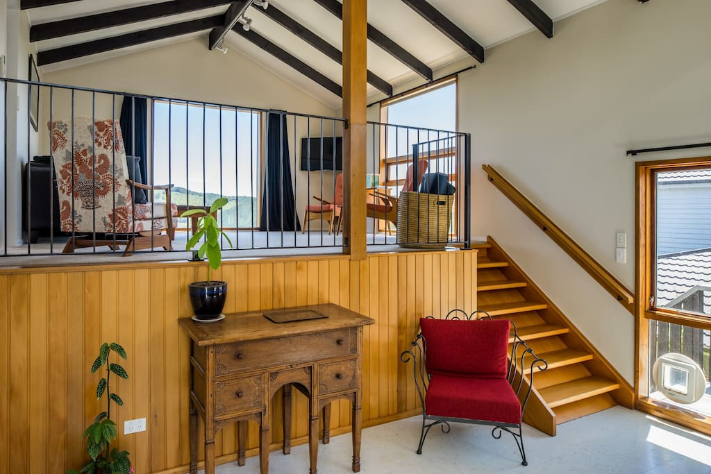 Mezzanine level has living and master bedroom