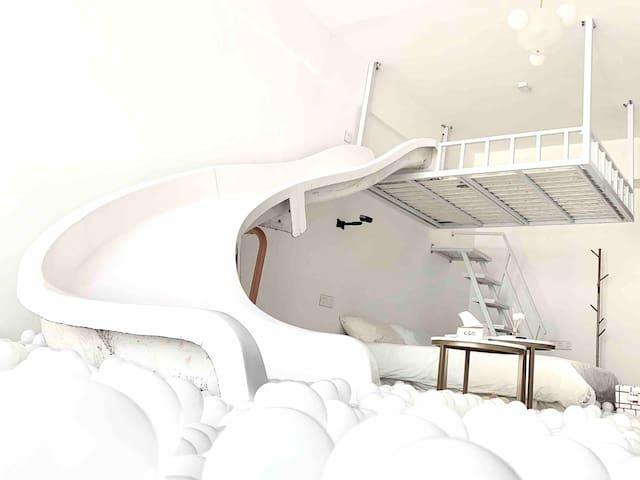 『境-云沫 』超大梦幻海洋球池滑滑梯 7米宽|高层无限视野夜景落地窗 汇一城 国贸 第一国际商圈 楼