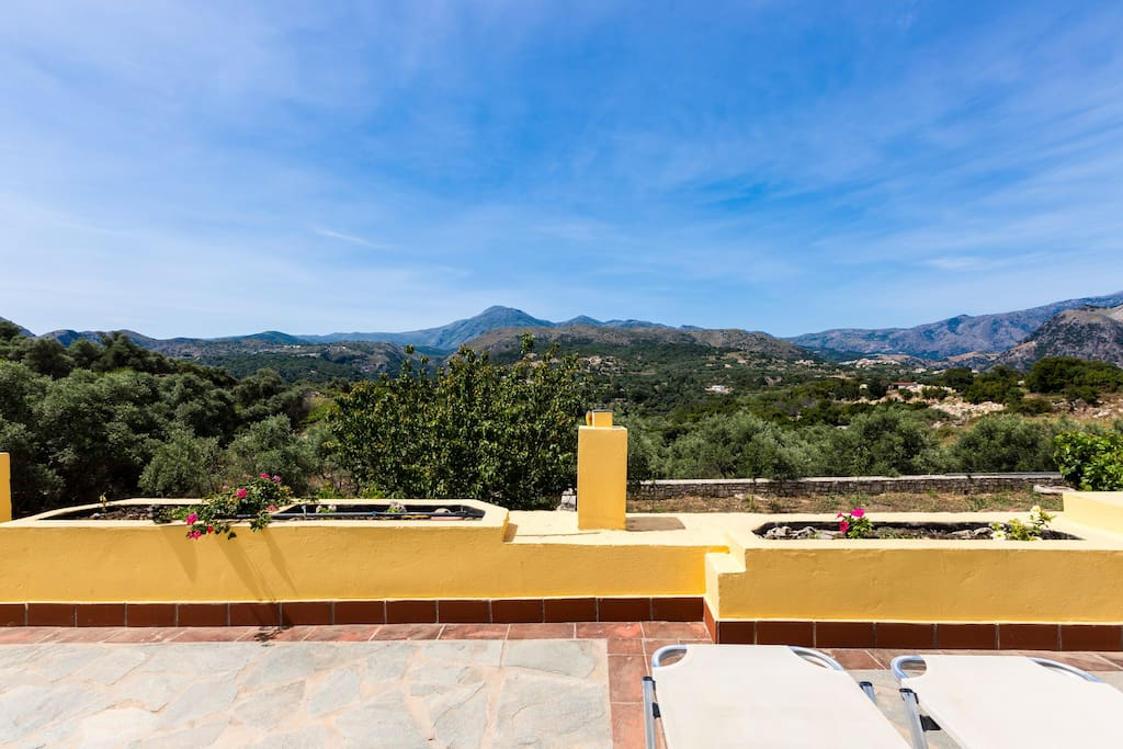 Panoramic mountain view can be enjoyed from our roof top