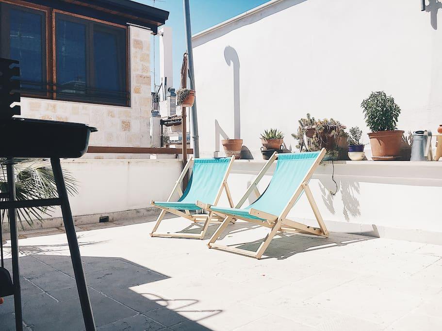 Terrace and sunbeds