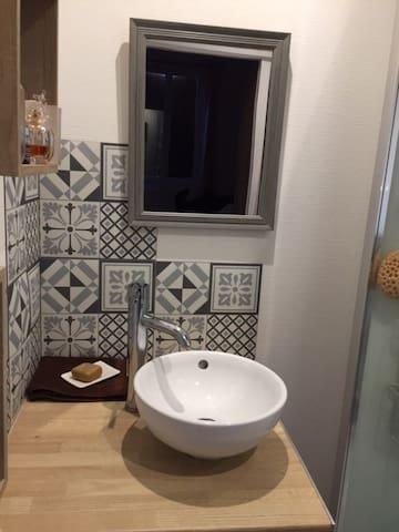 Le coin lavabo avec la douche