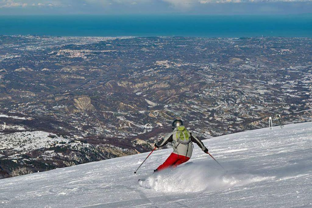 Ski with sea view