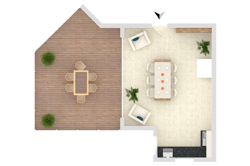 Erdgeschoss mit Terrasse, Küche und Essbereich
