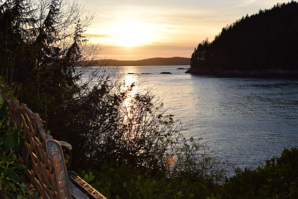 Bench with a sunset view.
