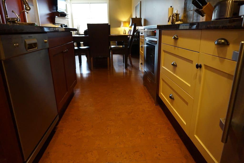 High end cork flooring feels luxurious and looks fantastic!