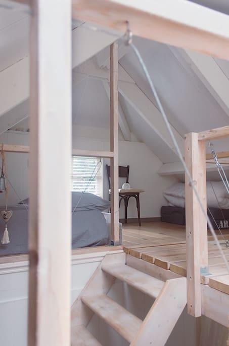 Slaapgedeelte, boven.