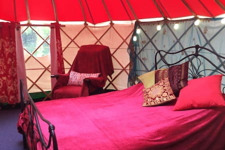 Yurt with double bed electric and stove in country
