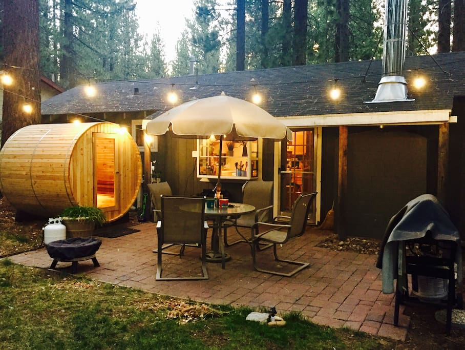 Come home and relax outside! We have a beautiful backyard equipped with a Sauna to soothe your muscles after hitting the slopes or hiking, grill for summer BBQing and a fire pit to keep you warm at night or for s'mores!