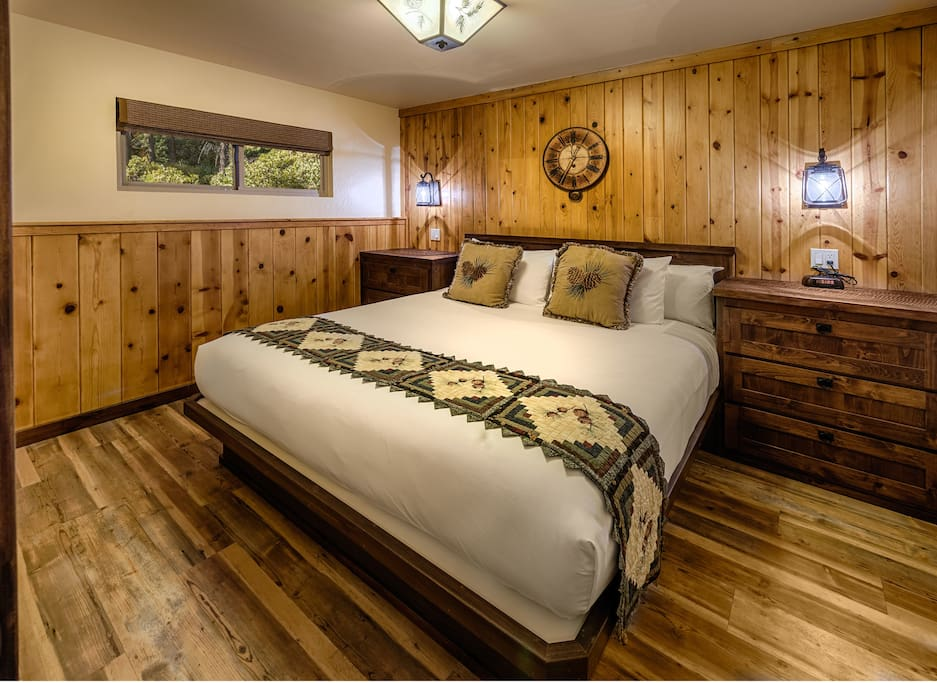 Separate bedroom with a custom made eastern king size bed.