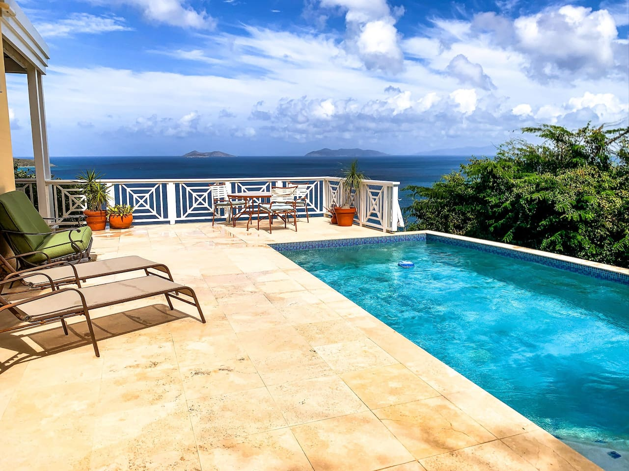 The pool deck with sweeping views of the British Virgin Islands