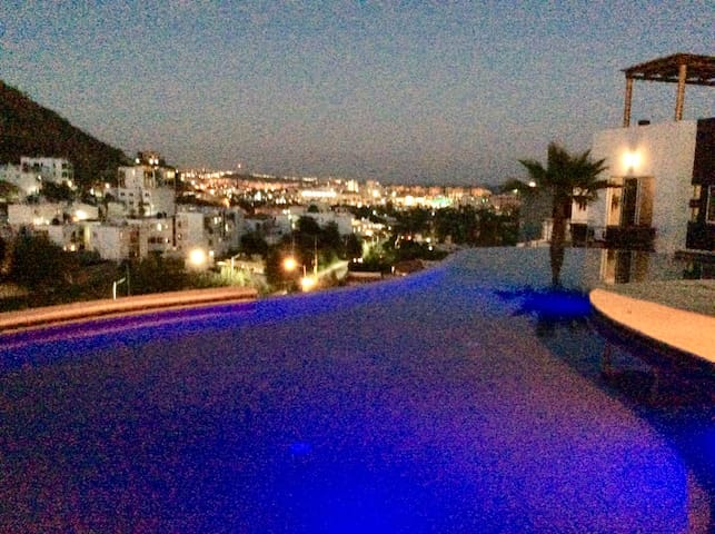 Gorgeous views of the lights at night from the pool and jacuzzi