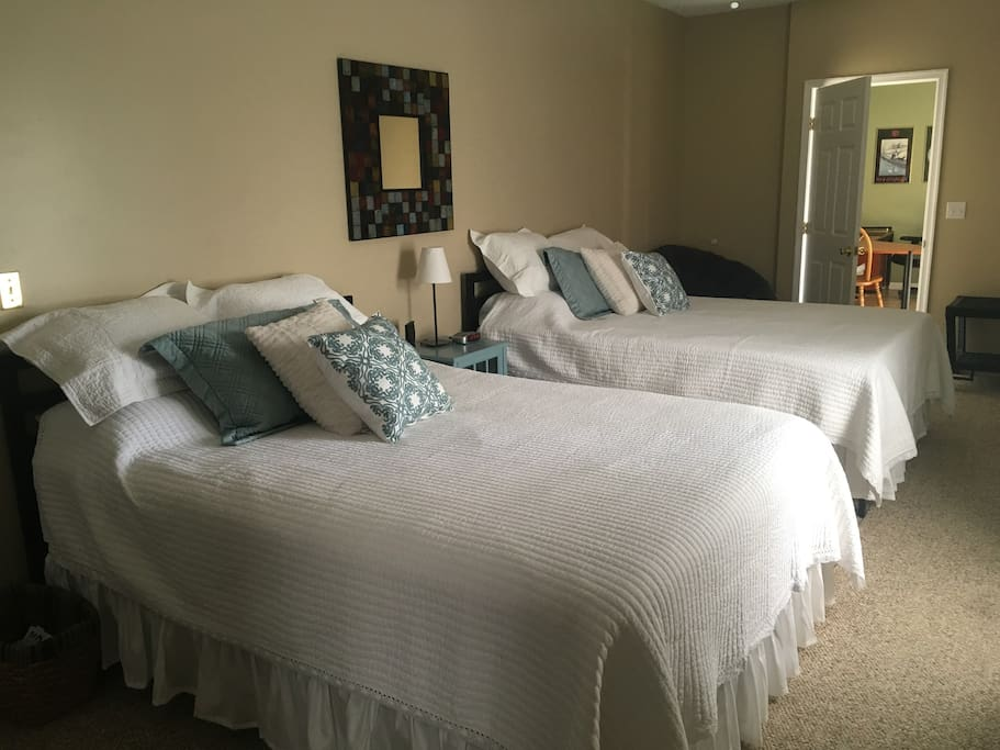 2 comfortable queen size beds