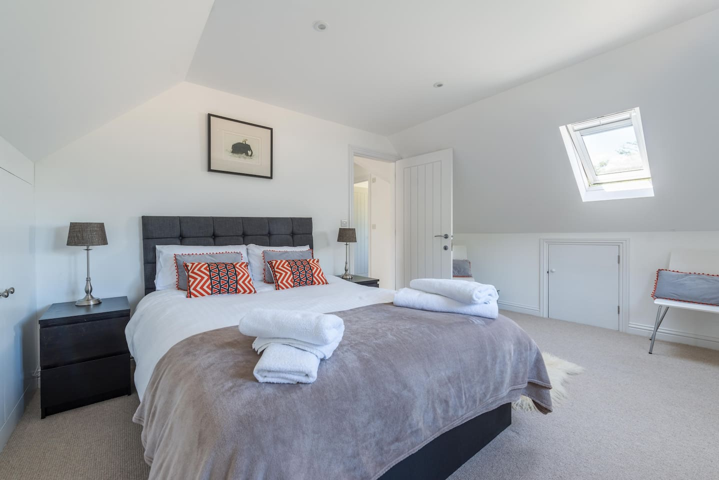Large comfy doubled bed with country views