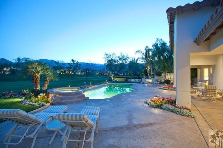 Beautiful backyard with pool and hot tub