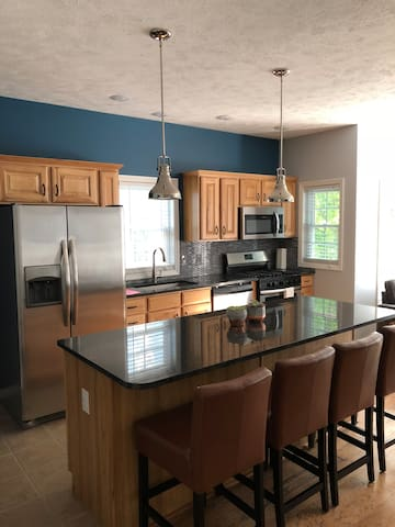 Our Kitchen is open concept, newly renovated and fully stocked with amenities for cooking.